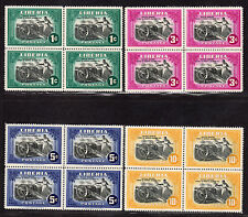 $Liberia Sc#301-4 M/H, complete set, blocks of 4, Cv. $22.40