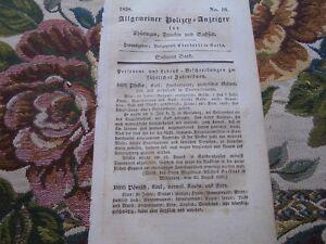 1838  PolizeyAnzeiger 19 Sondershausen Gera Solz Grabow Langensalza Schleusingen