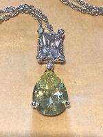 Vintage 1980s Swarovski Crystal Green Teardrop Pendant Necklace