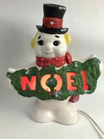 Ceramic Snowman NOEL Christmas Lighted Hand Painted Holiday Decor Gift