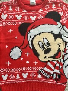 BNWT Official Disney Mickey Mouse Girls Boys Kids Red Christmas Jumper
