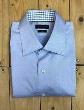 "Men's Pale Blue Tommy Hilfiger Tailored Shirt 17"" Fitted Long Sleeve Cotton A"