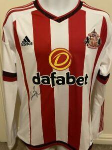 Signed Wes Brown Sunderland 2015 16 Autograph Shirt Manchester United England 2