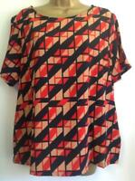 M&S COLLECTION - Geometric Print Short Sleeve  T-Shirt , RED MIX (BNWT) -Size 16