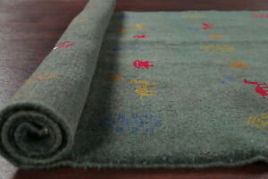 PINE GREEN Gabbeh Area Rug 3'x5' Office Kitchen Hand-Knotted Wool Carpet