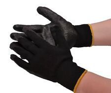 30-PAIR BLACK LATEX RUBBER COATED DIPPED PALM STRING KNIT WORK GLOVES LARGE L