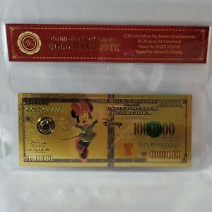 Disney Minnie Mouse One Million Dollars - Wr COA Gold Banknote - 99.9% 24K Gold