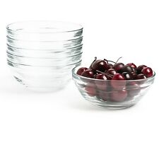 Set Of 6 Small 9cm Stackable Bowls Clear Glass Fruit Salad Dips Serving Dishes