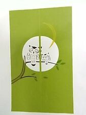 Japanese NOREN Curtain Owl Tree Month GREEN Cotton 100%