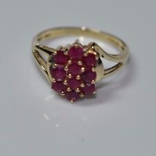 10 Red Rubies set in 10K Yellow Gold Sz 7 Ring