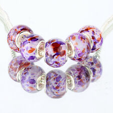 5pcs purple MURANO silver plated glass bead LAMPWORK For European Charm Bracelet