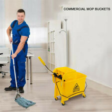 Commercial Mop Buckets Rolling 20L Wringer Combo Cleaning Cart Trolley Yellow