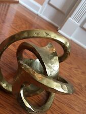 """Modern Style Abstract Metal Love Knot Sculpture Figurine Gold Finish ~8"""""""