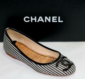 CHANEL CC Patent Leather Black White Strip Fabric Ballet Flat Shoe Round-Toes 36