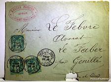 Sage  sur lettre oblitération  GENILLE LOCHES    - 1899  201ca119