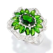 Sterling Silver 3.86ctw Chrome Diopside & White Zircon Cocktail Ring, Size 7
