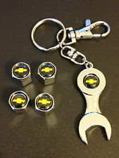 4x Chevrolet Chrome Silver Wheel Tire Valve Stem Caps Nuts Wrench Keychain S10