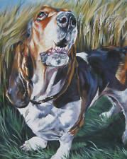 "Basset Hound dog portrait art canvas PRINT of LAShepard painting LSHEP 8x10"""