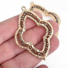 """2 Gold QUATREFOIL Beaded Charms, BRONZE Crystal, Connector Link, 2-1/4"""" chs4015"""