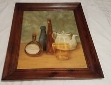 Mid Century Oil Painting signed by Pearl Vaught 1961 still life