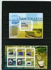 GUINEA 2009 LOCOMOTIVES TRAINS SHEET OF 6 STAMPS & S/S MNH