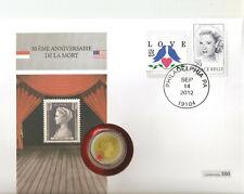 Numisbrief 2€ Grace Kelly, mit Stempel vom Todestag, nur 500 Stück