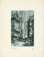 VINTAGE 1928 Etching CATHEDRAL LANE, The Holmes Co, Chicago, IL (Guy B. Holmes)