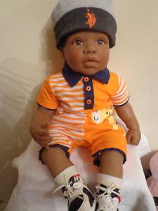 ADORABLE REVA SCHICK Lee Middleton Reborn Doll Boy Dark Skin African American