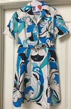 EMILIO PUCCI Blues SIGNATURE PRINT Short Sleeves COTTON DRESS , SZ 38/ 4.  ITALY