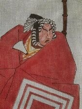 Vintage Samurai  needlepoint canvas  Very large Dramatic Hand painted canvas