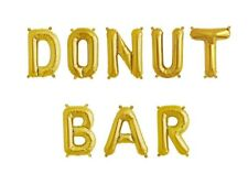 """DONUT BAR Letter Balloons - 16"""" Gold - Sweet Treats Sign - Donuts Sign - US SHIP"""