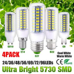 4 PACK E27/B22/E14/G9/GU10 LED Corn Light Bulbs SMD5730 Cool/Warm White Lamp UK