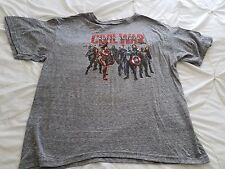 MARVEL Boy's XL Gray Civil War Captain Short Sleeve Poly Cotton Rayon Shirt