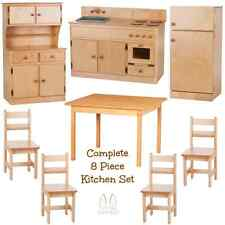 COMPLETE KITCHEN PLAY SET - 8pc NATURAL BIRCH Amish Handmade Kids Toy Furniture