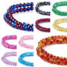 """31.4"""" Strd Round Crackle Glass Beads Smooth 2-Tone Loose Beads Craft Pick 4~10mm"""
