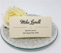 Personalised wedding place cards name cards white ivory kraft diamante handmade