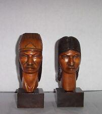 SET OF 2 NATIVE AMERICAN LOOKING CARVED WOOD HEAD STATUES MAN WOMAN FIGURES