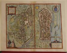 AUTUN & NEVERS FRANCE 1575 BRAUN/HOGENBERG UNUSUAL ANTIQUE COPPER ENGRAVED VIEW