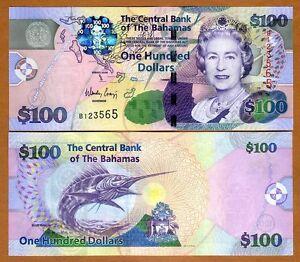 Bahamas, 100 dollars, 2009, Pick 76, QEII, UNC > Free shipping worldwide