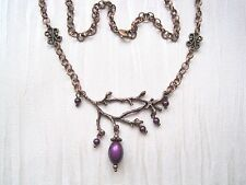 PURPLE BERRY BRANCH TWIG Copper Tone Bead Necklace 18 inch chain GIFT POUCH