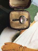 Antique Early 20th C Silver Bohemian Gablonz Iris Bi Colour Paste Ring Sz Q