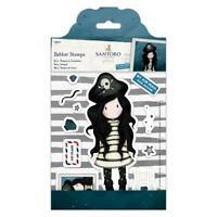 Santoro Gorjuss Girls Red Rubber Stamps Piracy Pirate Nautical Cardmaking Cling