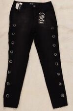 NWT Boom Boom Skinny High Rise Ankle Black Denim CUT-OUT Jeans Juniors size 7