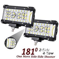 """5"""" Side Shooter CREE 264W Quad Row LED Pod Spot Flood Combo Work Light Bar JEEP"""