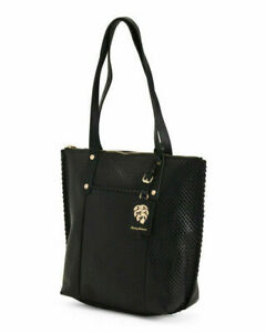 NEW TOMMY BAHAMA BLACK LEATHER TOP ZIP TOTE BAG $248