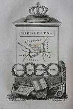 Original antique map ENGLAND, MIDDLESEX, Perrot, Migneret, c.1823