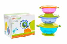 Baby Bowls - Set of 3 Stay Put Suction Bowls with Lids - Feeding Bowl Snack Time