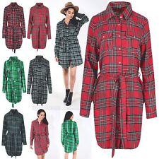 Ladies Womens Tartan Check Longline Collar Button Belt Top Shirt Dress UK 8-14