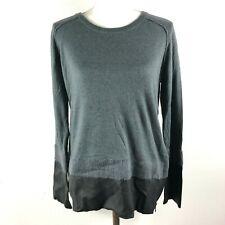 Line Knitwear Womens M Gray Crew Neck Long Sleeve Sweater w Leather Trim NWT