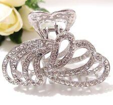 Metal Hair Claw Silver Crystal White Diamante Rehinestone hair claw clip